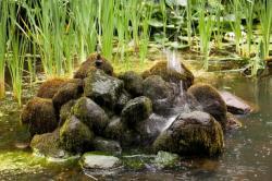 Jezírko, malé vodotrysky mezi kameny vytváří dokonalý efekt