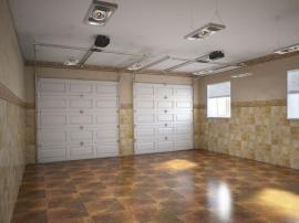 Dvougaráž se sekčními garážovými vraty, pohled zevnitř