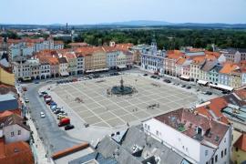 Pohled na centrum Českých Budějovic z Černé věže