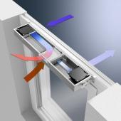 Filtrovaný čerstvý vzduch je ohříván pomocí odsávaného vzduchu a následně je přiváděn do místnosti.