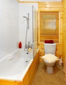 Vanová zástěna zde zároveň odděluje vanu a WC