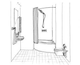 Náčrtek budoucí koupelny