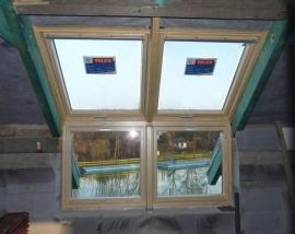 Vsazení střešních oken do krovu, pohled zevnitř