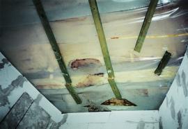 Ukázka možných důsledků kondenzace u šikmé střechy