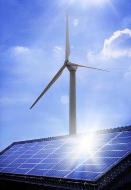 Větrná elektrárna a fotovoltaické panely