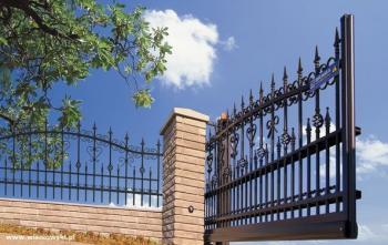 Kovaná plotová výplň a kovaná křídlová brána