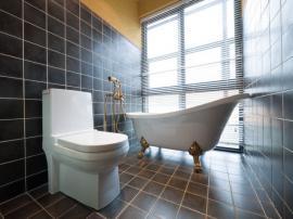Jednoduché vybavení koupelny - samostatně stojící vana a závěsné WC se navzájem doplňují