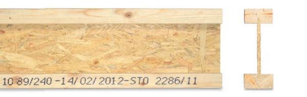 Dřevěný nosník I-OSB, pohled z boku a průřez