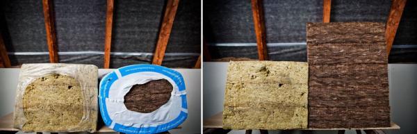 Porovnání obsahu balení: vlevo běžná kamenná vlna, vpravo izolace FactPlus