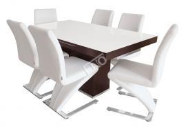 Moderní jídelní sestava s designovými židlemi 401