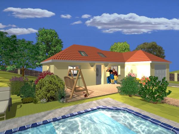 Návrh zahrady s bazénem