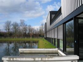 Zahradní rybníček, u budovy volíme jednoduchý geometrický tvar