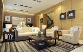 Osvětlení obývacího pokoje, centrální svítidlo je zde nahrazeno designovými bodovými světly