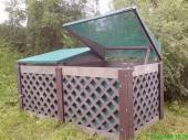 Plastová zatravňovací dlažba, využití v podobě kompostéru