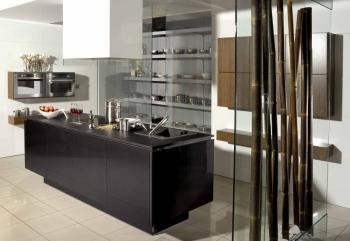 V popředí vidíme typický prvek východních stylů - bambus - který je tónován do dominantního tmavého odstínu kuchyňské linky navržené v evropském stylu, vzdušnost a lehkost dodává interiéru použití skla