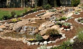 Do svažité zahrady patří skalka, ale třeba i vodní kaskáda