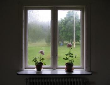 Kondenzace vzdušné vlhkosti na starém okně
