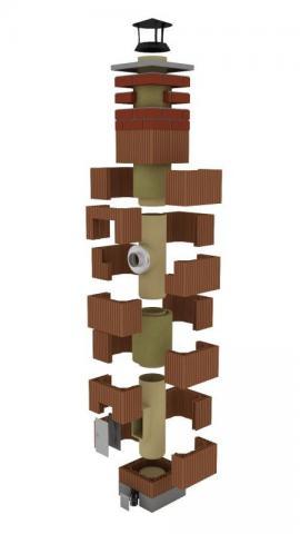 Komínový systém CIKO z keramických tvarovek a šamotových vložek