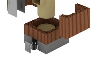 Založení komína CIKO, kanálky zadního odvětrání jsou patrné v rozích keramických tvarovek