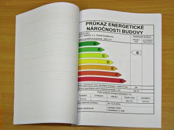 Energetický štítek obálky budovy - grafické ztvárnění PENB