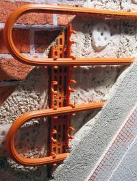 Detail stěnového vytápění