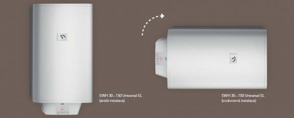 Zásobníkový ohřívač vody EWH Universal EL - svislá a vodorovná instalace