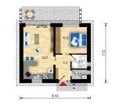Půdorys typového bungalovu Studio B