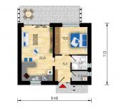 Půdorys typového bungalovu Studio C