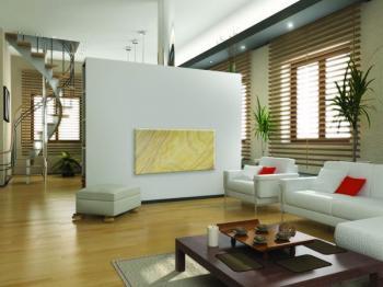 Nástěnný topný panel z přírodního kamene ladí s interiérem