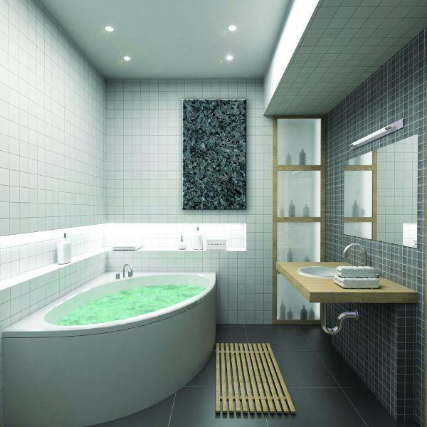 Sáláním přírodního kamene vytopíte snadno a rychle i koupelnu, design kamenné desky přitom vyzdvihne interiér