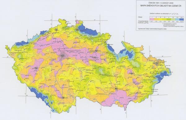 MAPA SNĚHOVÝCH OBLASTÍ V ČR