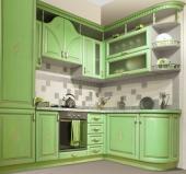 Moderní maisvní kuchyňská linka v retro stylu, povrchově upravená barvou