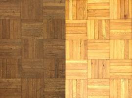 Stará parketová podlaha před a po renovaci