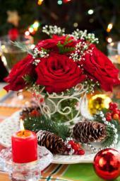 Vánoční květinová výzdoba z živých květin