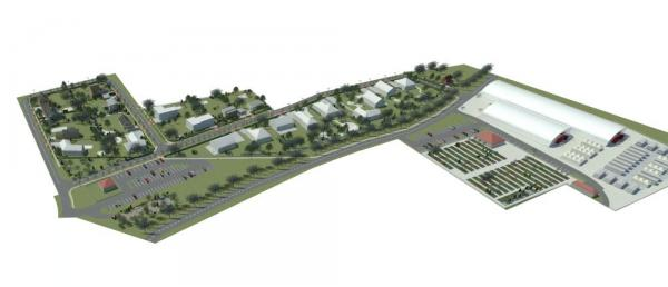 Vizualizace dvaceti vzorových domků a dvou výstavních hal