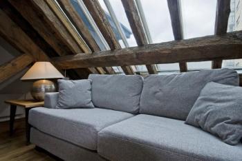Přiznané prvky původního krovu mohou působit v interiéru půdního bytu neobyčejně