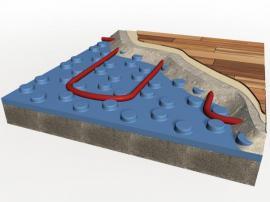 Průřez podlahou s elektrickými topnými kabely