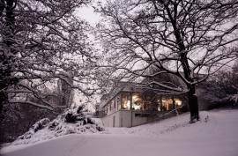 Večerní atmosféra se zasněženou zahradou