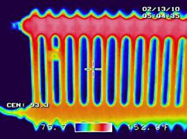 Termosnímek topného tělesa