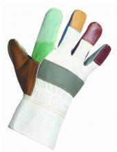 Kombinované pracovní rukavice z různobarevné lícové nábytkové hověziny, hřbet a manžeta z bílé bavlněné tkaniny, teplá podšívka