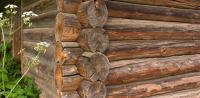 Starší srub - na dřevě jsou patrné známky stáří, ovšem stále odolává