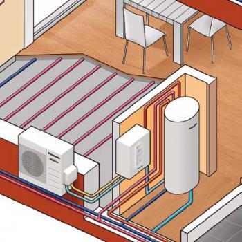 Schéma zapojení tepelného čerpadla vzduch/voda