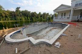 Realizace železobetonového skeletu - vany bazénu