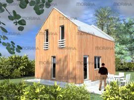 Montovaný dům PED 2 své dřevo přiznává dřevěným obkladem