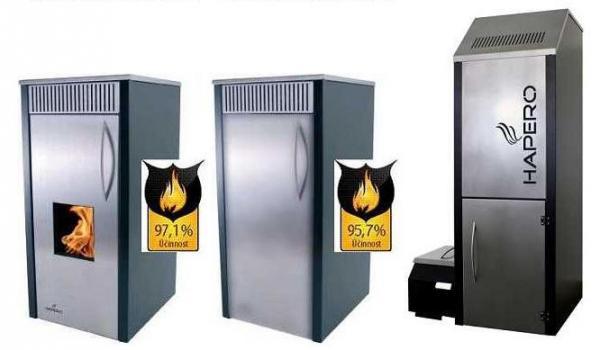 Automatické kotle na peletky Hapero - HAPERO HP02/W (provedení pro interiéry), HAPERO HP02/K (provedení pro sklepy), HAPERO HP03 a 04