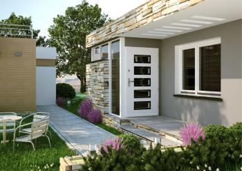 Dřevěné vchodové dveře a dřevěné okno POL-SKONE