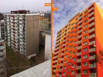 Panelový bytový dům před a po zateplení