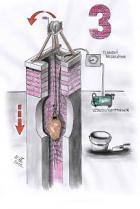 Příprava na vymazávání komína