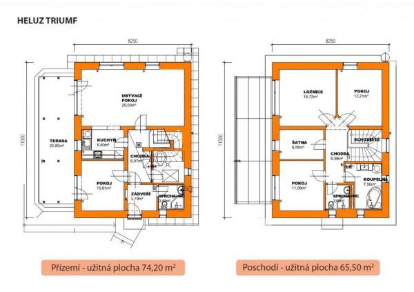 Půdorysy typového domu HELUZ TRIUMF