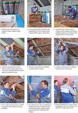 Postup při zateplování šikmé střechy s izolací mezi a pod krokvemi